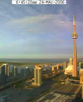 Toronto: Lakefront, Skydome, CN Tower; An early morning in May 2006.
